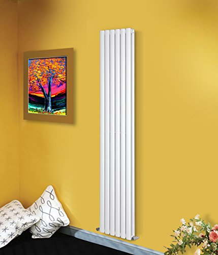 NRG Vertical 1800x354mm Radiator White Double Panel Oval Column Designer Bathroom Central Heating + Free Angled Valves