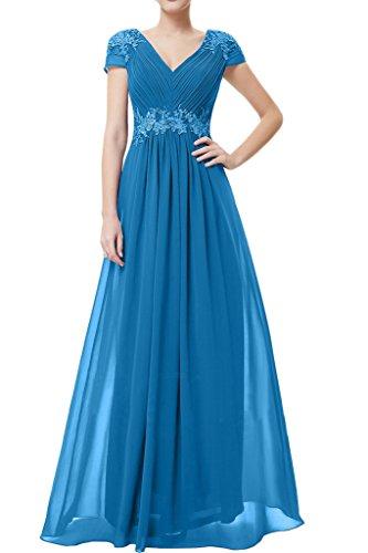 Missdressy Schick Chiffon Lang Spitze V-Ausschnitt Reissverschluss Abendkleid Ballkleid Festkleid Promkleid Blau