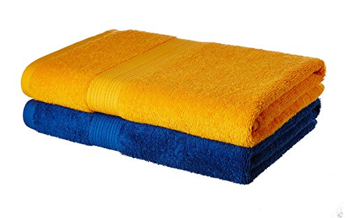 Solimo 100% Cotton 2 Piece Bath Towel Set, 500 GSM (Iris Blue and Sunshine Yellow)