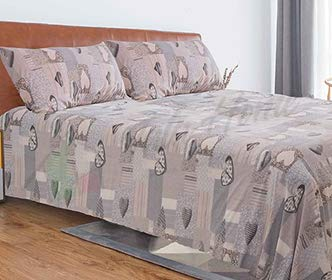 Tata home completo lenzuola in pile fantasia shabby letto singolo 1 piazza dis. 1 cuori grigio