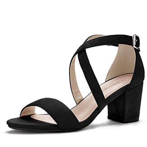 Allegra K Damen offene Zehe Kreuz-Riemen mittlere Blockabsatz Sandalen Sandalette Schwarz 42 EU/Label Size 10 US