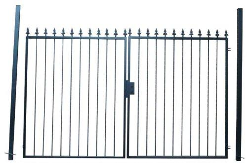 Hoftor Gartentor Einfahrtstor Tor schwarz mit Spitzen Breite 300cm x Höhe 180cm