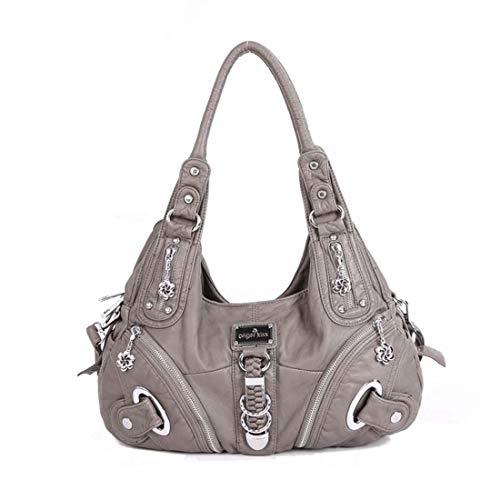 SPFTOY Damen Schultertaschen Handtaschen Umhängetasche Hobo Tasche Rucksack Weiches Leder Crossbody Geldbörse mit Reißver Schlusstaschen-Hellgrau -