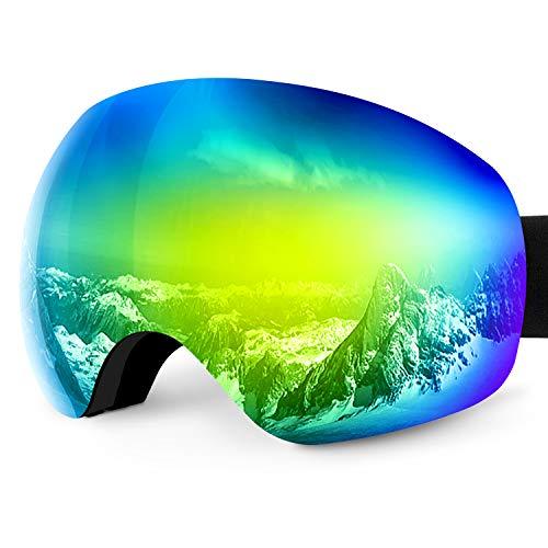 Karvipark Skibrille, Ski Snowboard Brille Brillenträger Schibrille Verspiegelt, Doppel-Objektiv OTG UV-Schutz Anti Fog Damen Herren Kinder für Skifahren Snowboard (Orange VLT13%)