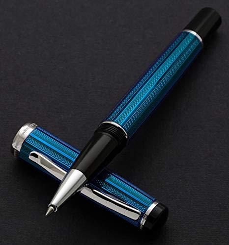 Raffinata penna roller Xezo ottone in francese blu metallizzato color, diamond-cut Engraved, placcato platino, Serialized incognito blu (R)