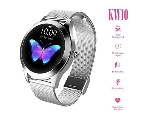 Reloj redondo IP68 a prueba de agua con pantalla táctil inteligente for las mujeres, Smart Watch KW10...