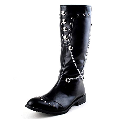 Men Long Boots Stud Chain Decoration Leather Boot Punk Rock Cowboy Knight High Boot Pointed Toe Motorcycle Biker Boots