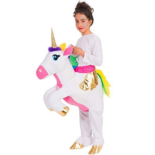 Nines d´Onil Kinder Kostüm Trag-Mich reitendes Einhorn Butterfly Unicorn Huckepack Kostüm Karneval (Nine D's Kostüm)