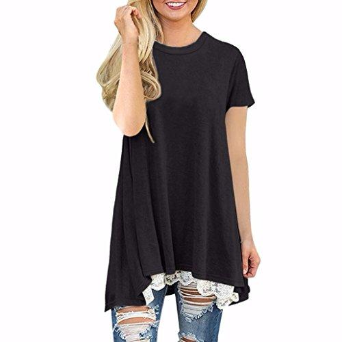 T-Shirt Damen,Einfarbig Kurze Ärmel Shirt Spitze Tunika Bluse Tops Kurzarm T-Shirt mit Rundhals Lässige Pullover Tops Bluse Patchwork Kurzärmelige Sweatshirt Oberteil Resplend