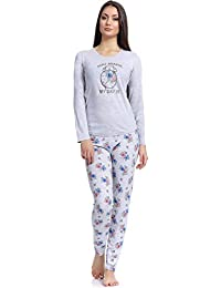 Merry Style Pijamas Conjunto Camisetas Mangas Largas y Pantalones Largos Ropa de Cama Interior Lencería Mujer