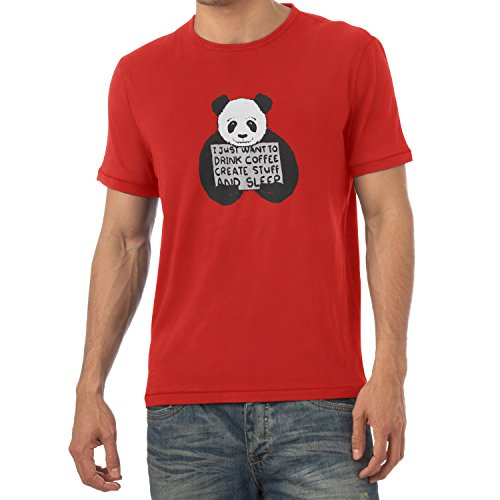 NERDO - Drink coffee, create stuff and sleep - Herren T-Shirt Rot