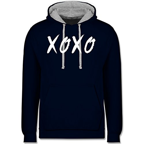 Statement Shirts - XOXO - Hugs and Kisses - Kontrast Hoodie Dunkelblau/Grau meliert