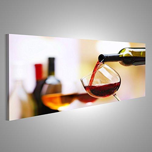Bild Bilder auf Leinwand XXL Panoramabild Leinwandbild Wandbild Kunstdruck Poster Topseller BMI Rotwein aus der Flasche eingeschenkt