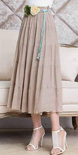 Helan femmes Plissé Jupes longues Bohême Style Plage Jupes Kaki