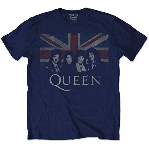Queen Official T Shirt Bohemian Rhapsody Vintage Union Jack Navy
