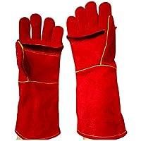 RFVBNM guantes de Soldadura/Doble Cuero Largo Resistente al Desgaste Resistentes a los Guantes de Trabajo Marinos/Guantes de Barbacoa de microondas, Rojo
