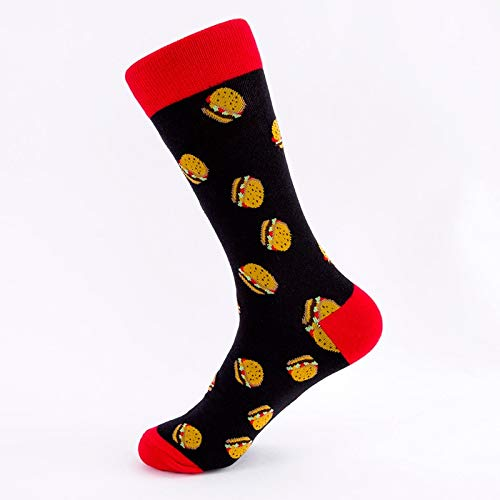 WZHHXXG 5 Paare Socken Cool Kreativität Muster Happy Crew Short Funny Women Men Socken One Size Drink Burger -