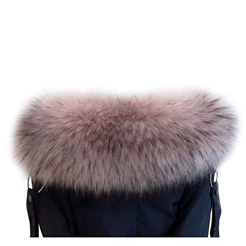 VEVESMUNDO Desmontable Cuello de Pelo Bufanda Estola del Cuello de Sintetica Postizo Piel Para Otoño Invierno Abrigo Chaqueta Chaleco Parka (Cuello de piel 75cm de largo, Rosa y negro)