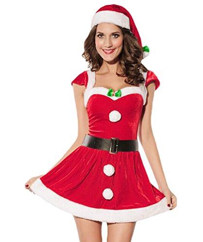 Baymate Damen Weihnachtsmann Kostüm Miss Santa Cosplay Prinzessin Kleid Kurzarm (Kleider Santa Sexy)