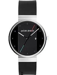 Jacob Jensen 732 - Reloj analógico de cuarzo para hombre con correa de caucho, color negro