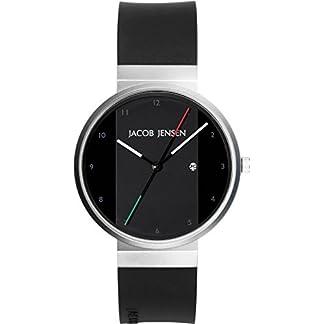 Jacob Jensen 732 – Reloj analógico de Cuarzo para Hombre con Correa de Caucho, Color Negro
