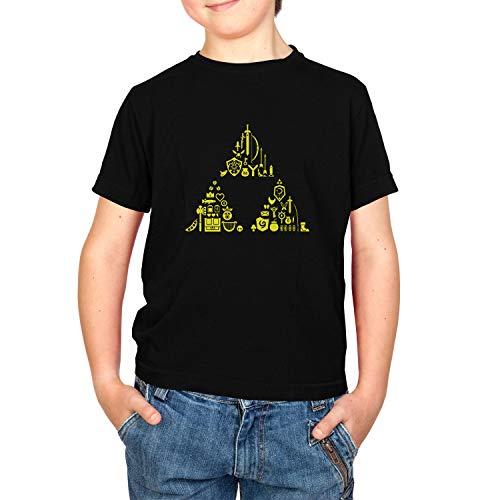 Texlab Link's Stuff - Kinder T-Shirt, Größe S, schwarz (Link Wind Waker Kostüm)