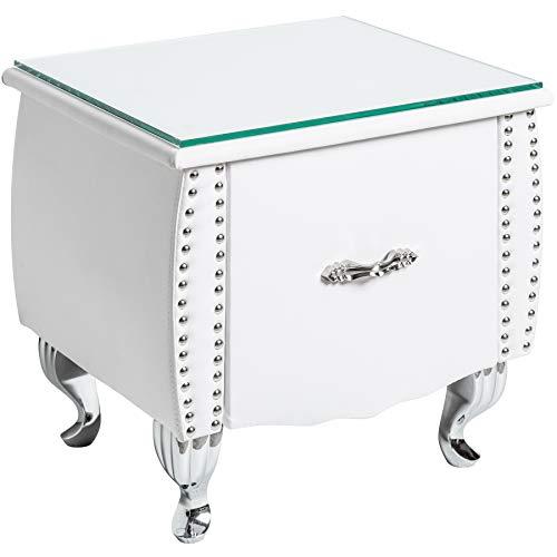 Invicta Interior Eleganter Nachttisch EXTRAVAGANCIA 47cm weiß Nachtkommode mit Schublade