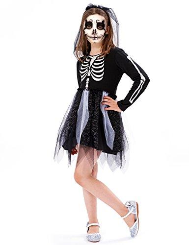 (IKALI Kinder Skelett Kostüm, Mädchen Halloween Overall Kleid unheimlich Bekleidung Langarm für Karneval-Party, Welt-Buch-Tag)
