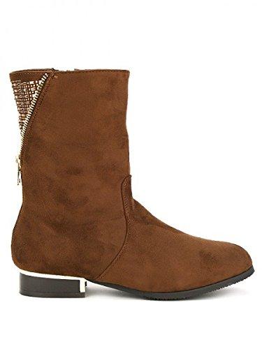 Cendriyon, Bottine Daim marron PAKANA MODE Chaussures Femme Marron