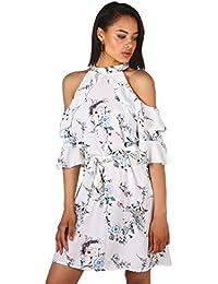 KRISP® Damen Cold Shoulder Kleid mit asiatischem Blumenmuster