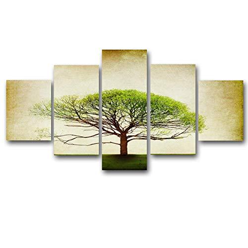 WEMUR 5 Panel Druck Retro Baum Kunst Landschaft Landschaft modulare Bild große leinwand malerei Schlafzimmer Wohnzimmer Hause wandkunst gürtel_Frame_30X40_30X60_30X80cm -