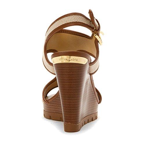 Michael Michael Kors Gillian Wedge Toile Sandales Compensés Ecru