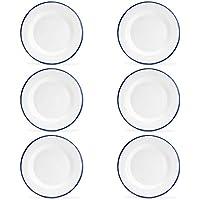 """Argon Geschirr Premium-weiße Emaille-Dinner Plates - 219mm / 9"""" - Blau-Ordnung - Packung mit 6"""