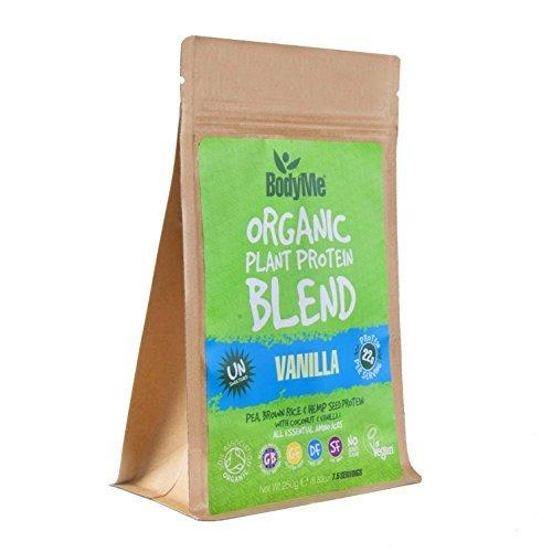 BodyMe Biologique Mélange Poudre de Protéines Végétalien | Crue Vanille | 250g | NON SUCRE Avec 3 Protéines de Plantes