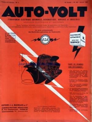 AUTO VOLT [No 169] du 01/01/1946 - EQUIPEMENT ELECTRIQUE AUTOMOBILE - AERONAUTIQUE - AGRICOLE ET INDUSTRIEL