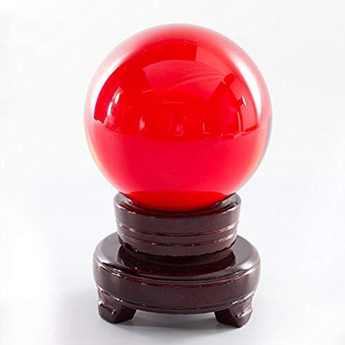 junjunli Ball große Kristallkugel Durchmesser 80 mm Divination Ball Fotografie Requisiten mit Ständer Ball rot