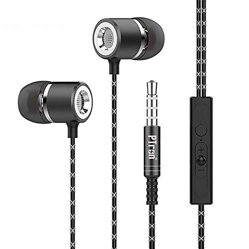 PTron Flux Metall In-Ear-Kopfhörer (96dB) / Ergo Fit Sport Ohrhörer mit Mikrofon (Noise Cancellation) und Extra Bass Boost (Schwarz)