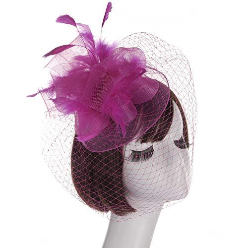 LZY Fascinators Zylinder für Frauen Vintage Mesh Perle Haarspange Tea Party Hochzeit Headwear Cocktail Kentucky Derby Stirnband,Rosered