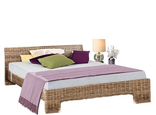Loft24 Capri Rattan Bett Doppelbett Bettgestell Bettrahmen Schlafzimmer grau, 140 x 200 cm