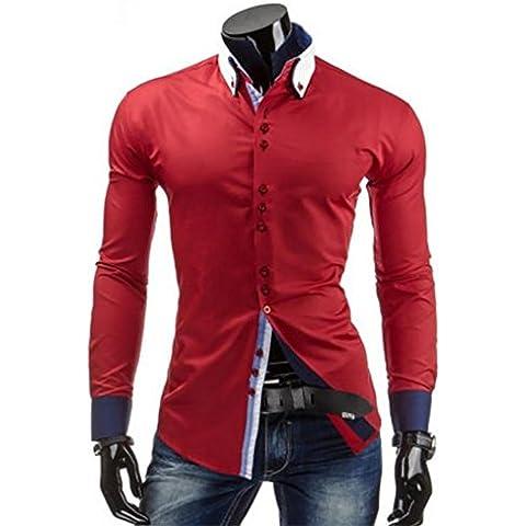 YUYU Premium manica lunga uniformi leggere camicie , xl , red