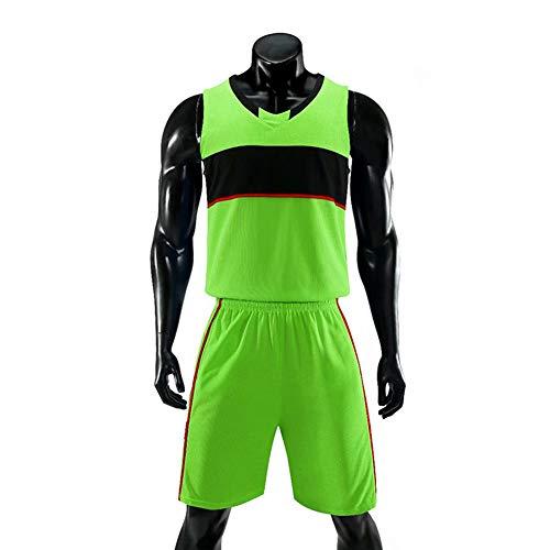 Herren Basketball Jersey Herren Basketball Trikot, Geeignet Für Kinder, Unisex Loses schweißabsorbierendes Gewebe,Grün,S