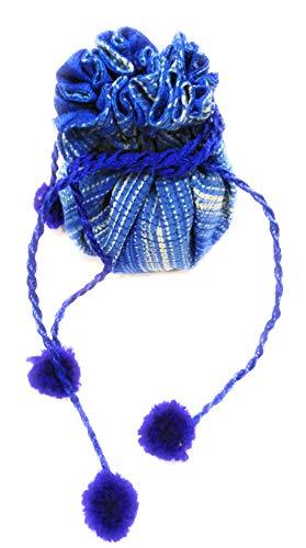 JaipurSe blue silk potli bag for gift keepsakes