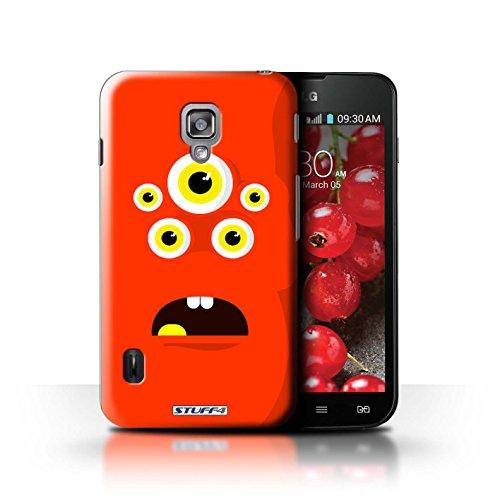 Kobalt® Imprimé Etui / Coque pour LG Optimus L7 II Dual / Rouge conception / Série Monstres Rouge