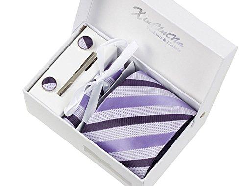 S.R HOME Bandes Violettes Ensemble Cravate étanche d'homme, Mouchoir, épingle et boutons de manchette coffret cadeau