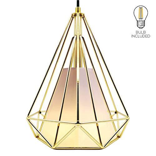Homesbrand - Lámpara de techo colgante de metal con forma de candelabro industrial, estilo retro, para cesta de hierro dorado, dorado, dorado