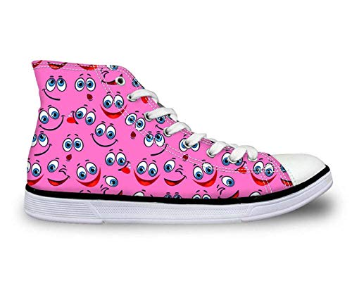 MLULPQ& Womens Girls Emoji Print Casual Canvas Sneakers Lace-up Athletic High Top Boots Pink C2604AK. Women's US 6 = EUR 36 -