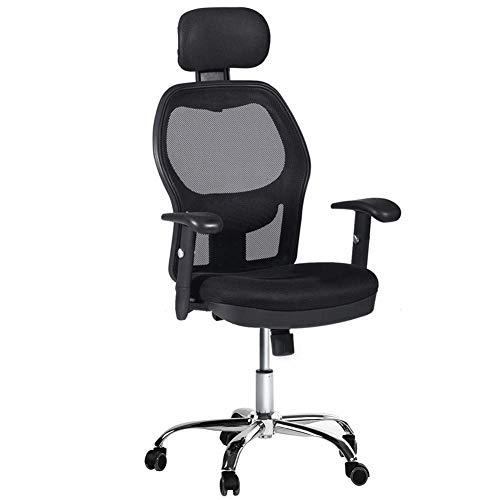 GIRISR Bürostuhl 360 Grad Drehbar Ergonomischer High Back Mesh Bürostuhl Executive Game Chair Mit Kopfstütze Schwarz