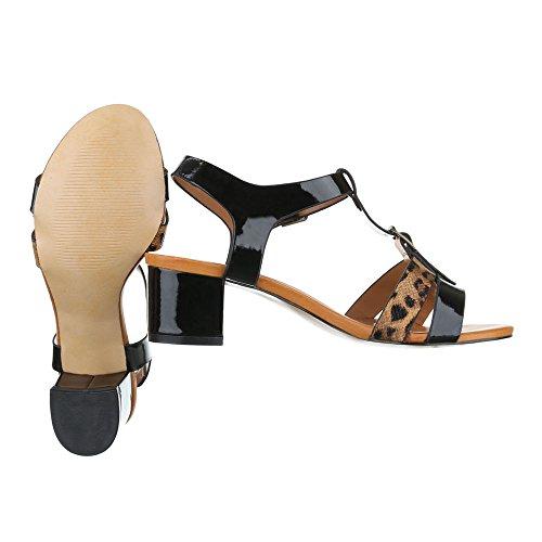 Ital-Design , Sandales pour femme noir/marron