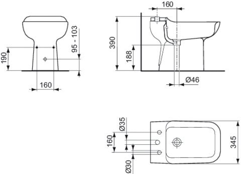 Ideal standard tesi classic t504061 bidet a pavimento bianco.