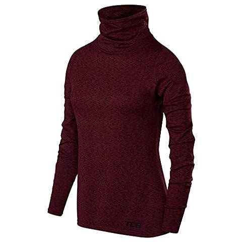 TCA Warm-Up Damen Laufshirt Langarm Funktionsshirt mit Rollkragen - Burgund, M